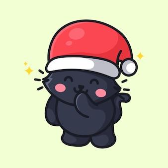 Gato fofo está comemorando o natal ano novo