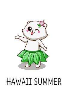 Gato fofo feliz em hawai na ilustração dos desenhos animados de verão