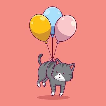 Gato fofo flutuando com a ilustração dos desenhos animados do balão