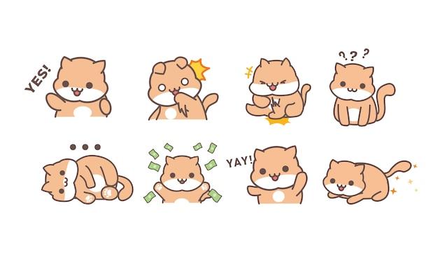 Gato fofo fofo personagem adesivo conjunto com várias expressões