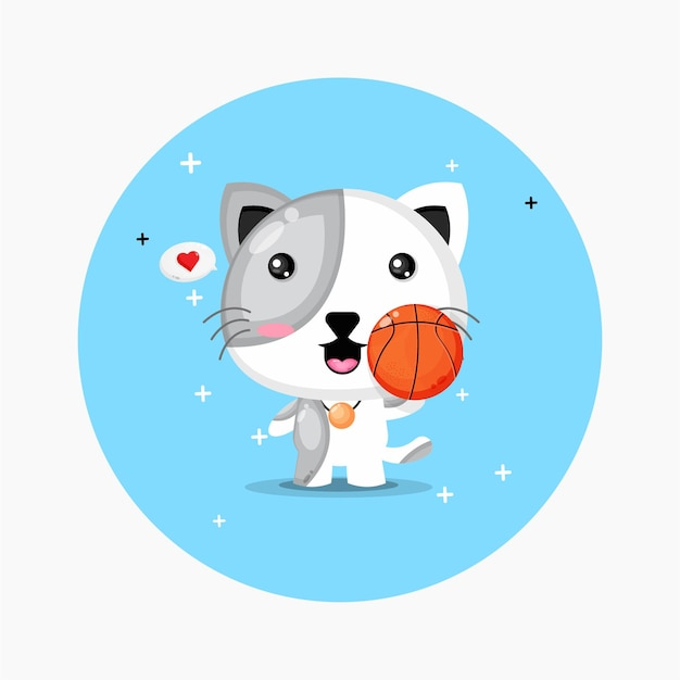 Gato fofo jogando basquete