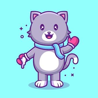 Gato fofo kawaii segurando bola de neve dos desenhos animados do ícone do vetor ilustração vetor de animal de estimação premium em estilo simples