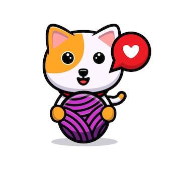 Gato fofo, mascote de desenho animado de bola de lã