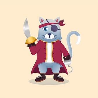 Gato fofo mascote dos desenhos animados vestindo fantasia de pirata carregando uma espada.