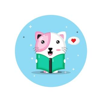 Gato fofo mascote lendo livro
