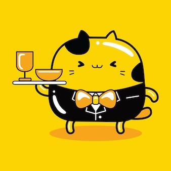 Gato fofo mascote personagem waite profissão em estilo cartoon plana