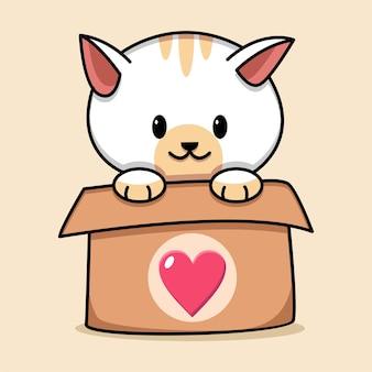 Gato fofo na caixa de ilustração dos desenhos animados