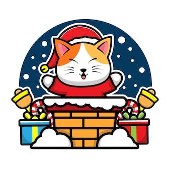 Gato fofo na chaminé personagem de desenho animado ilustração de conceito de natal