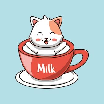 Gato fofo na ilustração do ícone da xícara de café