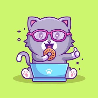 Gato fofo nerd segurando donut desenho animado ícone ilustração vetor de animal de estimação premium em estilo simples