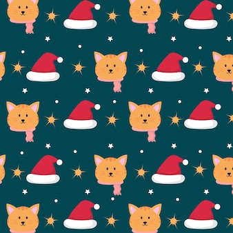 Gato fofo no padrão sem emenda do tema de natal