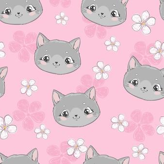 Gato fofo padrão sem emenda e flores