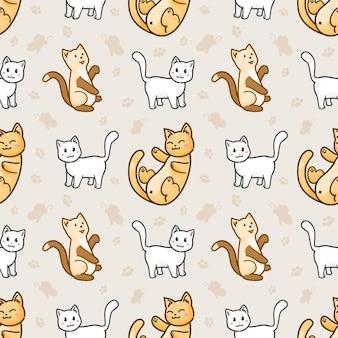 Gato fofo padrão sem emenda