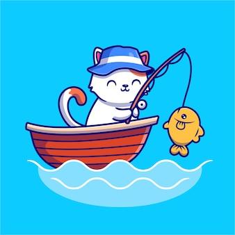 Gato fofo pescando no mar, no barco, ícone de desenho animado