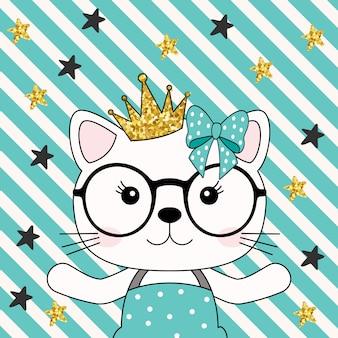 Gato fofo princesa menina com coroa