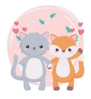 Gato fofo raposa com corações deixando folhagem animais de desenho