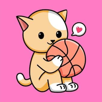 Gato fofo segurando ilustração de desenho animado de basquete
