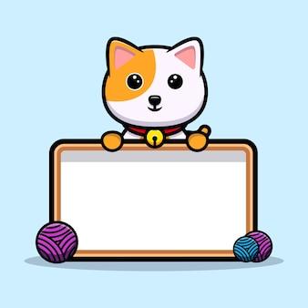 Gato fofo segurando mascote de desenho animado de texto em branco
