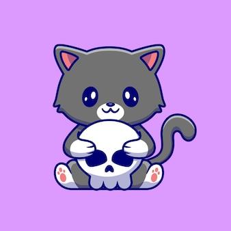 Gato fofo segurando osso de crânio