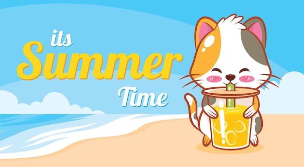 Gato fofo segurando suco de laranja com uma faixa de saudação de verão