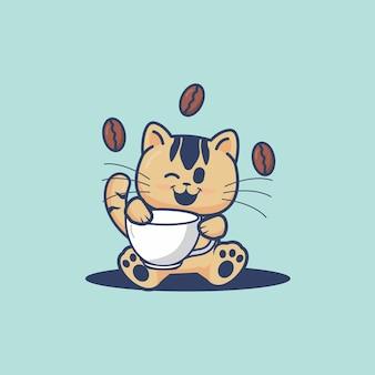 Gato fofo segurando uma ilustração dos desenhos animados de uma xícara de café