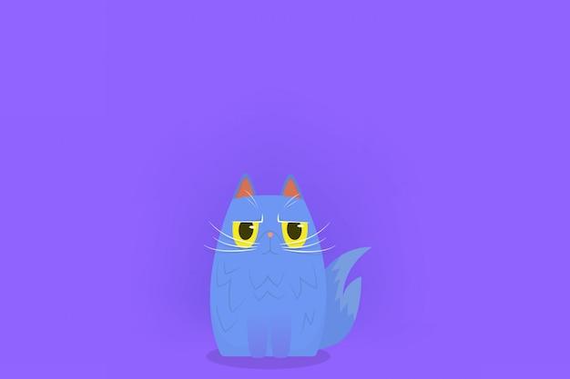 Gato fofo sentado com cara de zangado