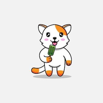 Gato fofo tomando um sorvete