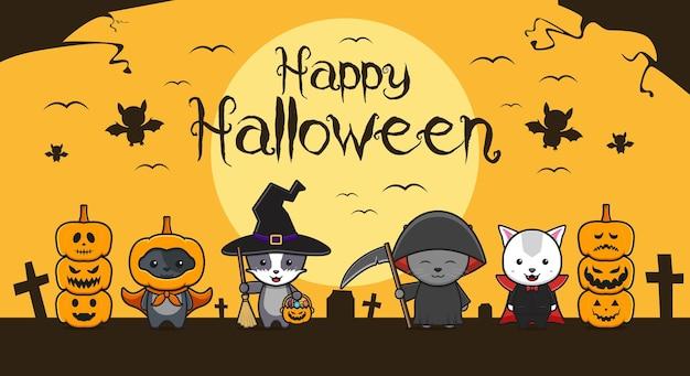 Gato fofo usando cosplay de halloween fundo desenho animado ícone ilustração estilo simples