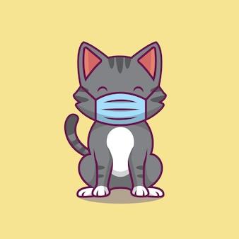 Gato fofo usando ilustração de máscara