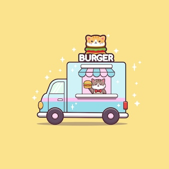 Gato fofo vendendo hambúrguer no foodtruck