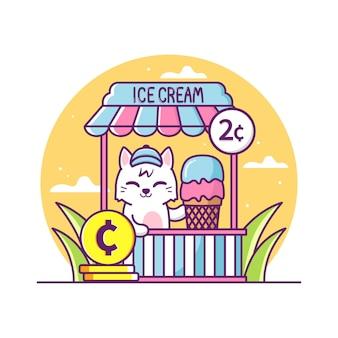 Gato fofo vendendo ilustração de sorvete