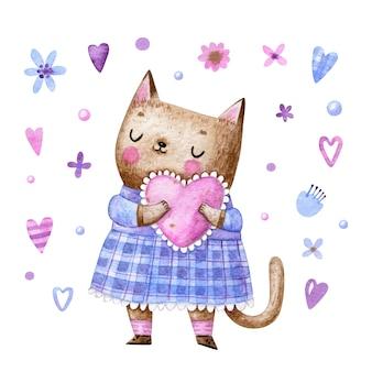 Gato fofo vestido segurando um coração rosa em estilo cartoon para dia dos namorados