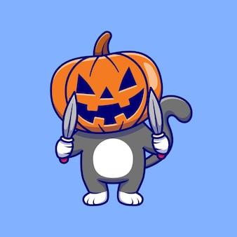 Gato fofo vestindo abóbora de halloween com faca