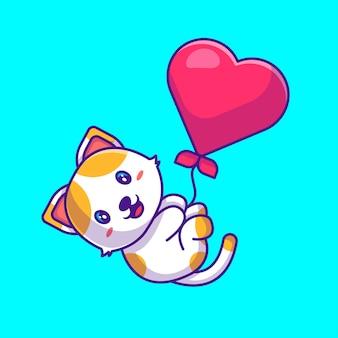 Gato fofo voando com a ilustração dos desenhos animados do balão do amor