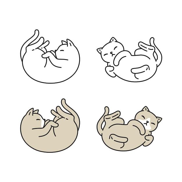 Gato gatinho chita animal de estimação personagem de desenho animado doodle raça