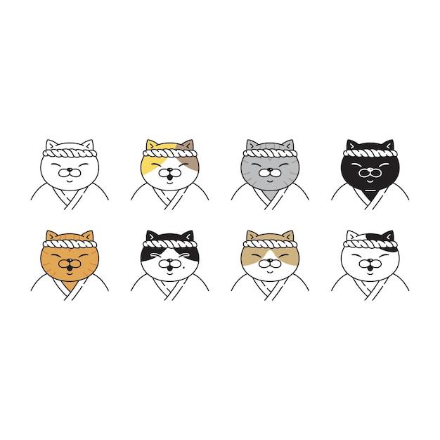 Gato gatinho chita chef personagem de desenho animado doodle raça