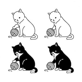Gato gatinho jogar fios bola personagem de desenho animado