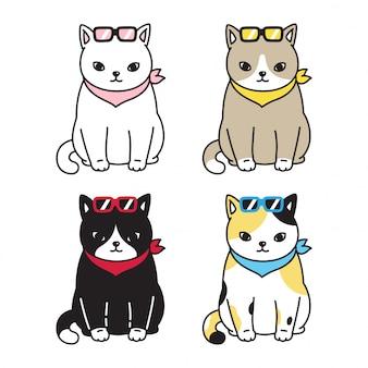 Gato gatinho óculos de sol dos desenhos animados