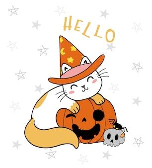Gato gatinho preto fofo na cara engraçada com desejo de abóbora halloween abóbora miau desenho vetorial plana