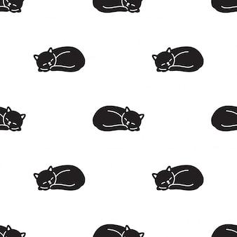 Gato gatinho sem costura padrão dormindo animal de estimação dos desenhos animados