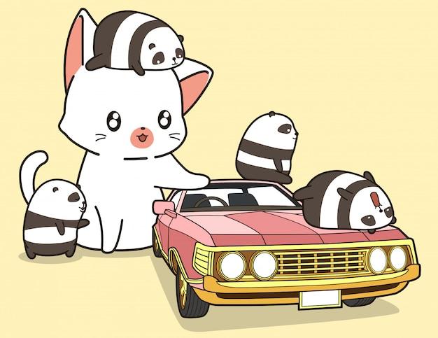 Gato gigante de kawaii e pandas pequenos com carro cor-de-rosa.