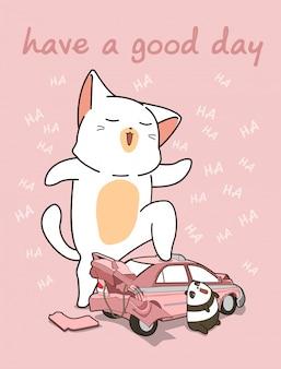 Gato gigante kawaii com um carro quebrado