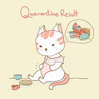 Gato gordo bonito olhando para uma barriga grande, pensando em lanches doces com palavra de resultado de quarentena em segundo plano