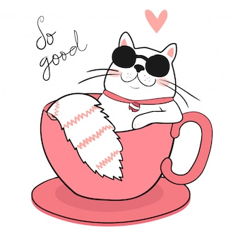 Gato gordo branco bonito com óculos de sol, dormindo em uma xícara de café