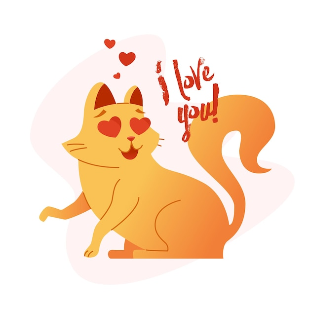 Gato - ilustração plana de frase em vetor moderno. personagem animal dos desenhos animados. imagem de presente de animal de estimação sentado dizendo eu te amo.