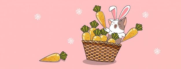 Gato impertinente de coelho com cenoura