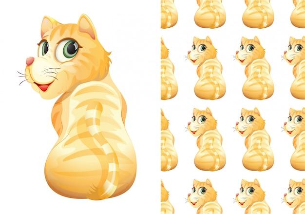 Gato isolado padrão animal dos desenhos animados