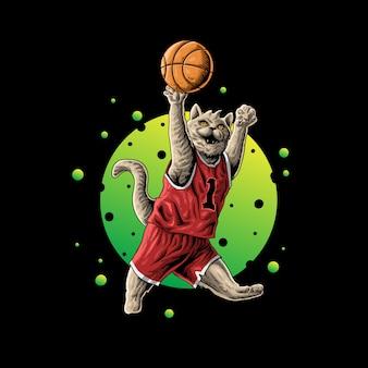 Gato jogando basquete ilustração