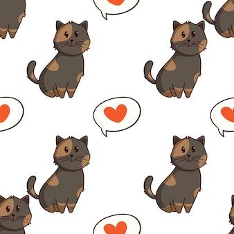 Gato kawaii com amor em padrão sem emenda com estilo doodle colorido em fundo branco