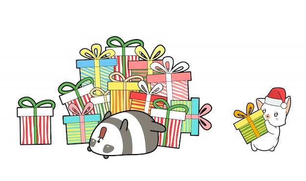 Gato kawaii dar um presente para panda